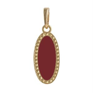 Picture of Burgundy Oval Enamel in Gold Droplet